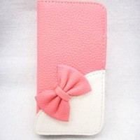 Wallet Bowknot Bow Girl Cute lovely Flip Pouch Cover Card Holder PU Leather Skin Case Cover for Alcatel One Touch Fierce 7024W 7024T pink