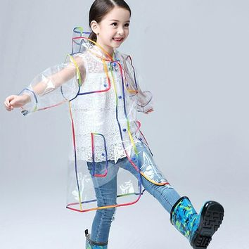 Yuding Transparent Raincoat Boys Rain Jacket Rainwear Hooded Outdoors Clear Waterproof Kids Girls Toddler Rain Coat For Children