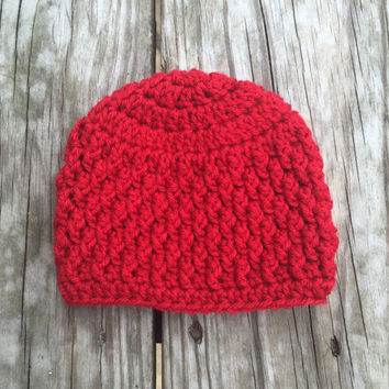 Red Newborn Baby Beanie Girls Hat Crochet Baby Beanie Baby Shower Gift Baby Girl Gift Valentines Day