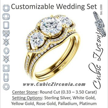 CZ Wedding Set, featuring The Lizabeth engagement ring (Customizable Round Cut Enhanced 3-stone Style with Tri-Halos & Thin Pavé Band)
