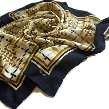 "Vintage Silk Scarf, ECHO Scarf,27"" Square Scarf,Japan Silk Headscarf,Large Square Scarf,Plaid Scarf,Black and Gold Designer Scarf,Rolled Hem"