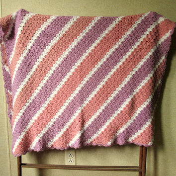 Throw Blanket vintage afghan lap robe baby blanket crib blanket dusty rose pink lavender crochet knit diagonal stripe cabin cottage decor