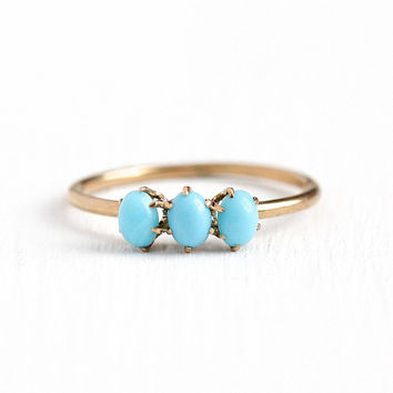 Antique Turquoise Ring - Victorian 1900s Size 5 1/4 10k Rosy Yellow Gold - Three Stone Robins Egg Blue Gemstone Cabochon Fine Band Jewelry