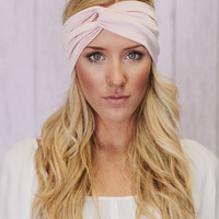 Turban Headband Wide Turband Headband Workout Hair Band in Pink