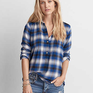 AEO Plaid Popover Shirt, Blue