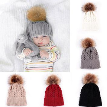 Girls Cable Knit Warm Winter Hat With Large Fur Ball Decor