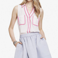 CONTRAST PIPING SLEEVELESS PORTOFINO SHIRT from EXPRESS