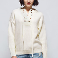 Cupshe Tie Hard Lace Up Sweater