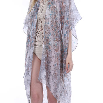 Sheer Woven Sleeved Floral Print Duster-Gray