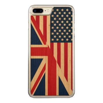 American and Union Jack Flag Carved iPhone 7 Plus Case