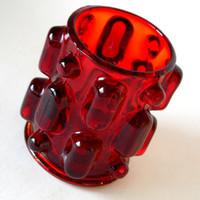 Red Glass Pen Pencil Pot - Candle Holder - desk Tidy - Japan 1960s Vintage Retro Modern, amberina