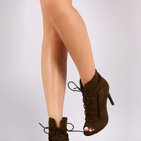 Anne Michelle Front Slit Lace Up Peep Toe Stiletto Heel