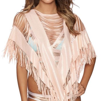 Indian Summer Poncho in Rose Gold
