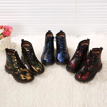 Kids Walking Martens Shoes Children Sport School Trainers Boy Girls Colorful Leather DR Boots Fashion Sneakers Eur 28-35