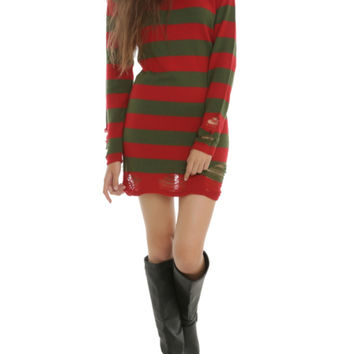 Horror Red Green Stripe Sweater Dress