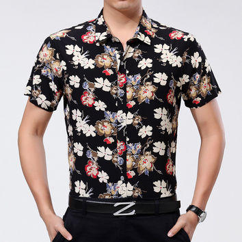 Summer Luxury Stylish Shirt Men Short Sleeve Blouse [6544197571]