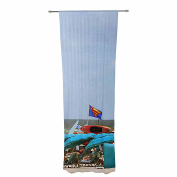 "Angie Turner ""Superman At The Beach "" Blue Red Decorative Sheer Curtain"