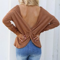 Your Partner Camel Open Knot Back Sweater