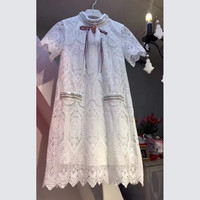 Summer Women's Fashion Lace Hollow Out Short Sleeve Slim One Piece Dress [10356882125]