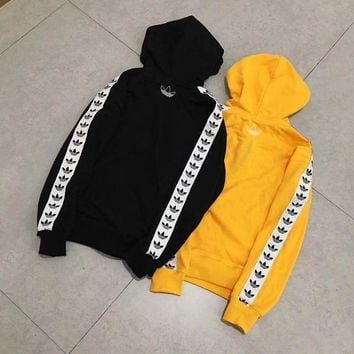 Adidas Originals Fashion Casual Long Sleeve Pullover Hoodie In Yellow G