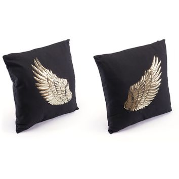 Black & Gold Metallic Wings Pillows (Set of 2)