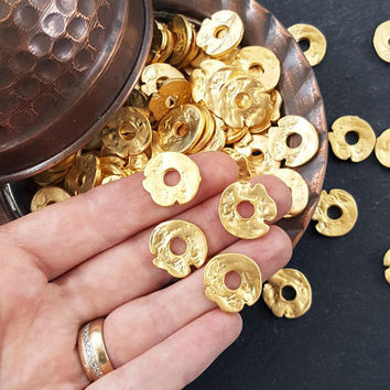 Organic Flat Pebble Bead Spacers Free Form Textured Jewelry Making Supplies Findings - 22k Matte Gold Plated - 4pcs