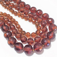 Lucite Transparent Amber Bead Necklace, Graduated Faceted Round Beads, Multi Strand, Vintage Mid Century Jewelry 418