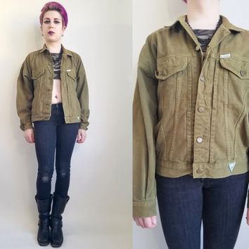 80s Clothing Guess Jacket Olive Green Denim Jean Jacket Army Green Jean Jacket Vintage Grunge Jean Jacket Size Medium Large Made in USA