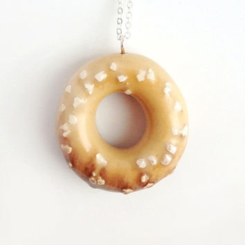 Vanilla Donut with White Chocolate Sprinkles - handmade ceramic jewellery desert