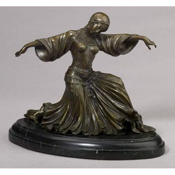 A. A. Importing 26426 Bronze Art Deco Dancing Lady Statue