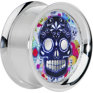 1'' Steel Sugar Skull Floral Reversible Mirror Screw Fit Plug
