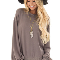Charcoal Bubble Sleeve Sweater