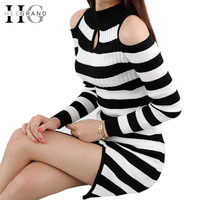Vestidos Femininos 2015 Women Autumn Winter Dresses Long Sleeve Knitted Stripe Sweater Dress Women Work Wear Plus Size WQL2310