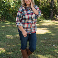 Curvy| Plaided Excellence Shirt - Taupe/Red/Royal