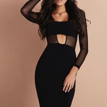 Mesh Long Sleeve Black Cutout Bandage Dress