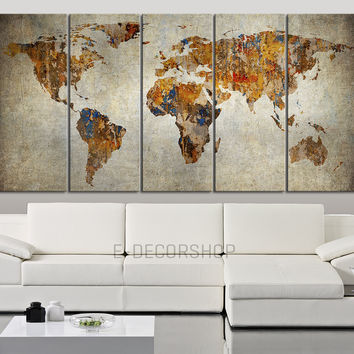 WORLD MAP Canvas Print on Old Wall Background - Sephia World Map 5 Piece Canvas Art Print - Ready to Hang - Vintage World Map Large Wall Art - MC76