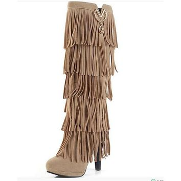 Over The Knee Fringe Tassels Boots