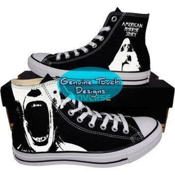 DCCKGQ8 custom converse ahs american horror story fanart shoes custom chucks painted shoe