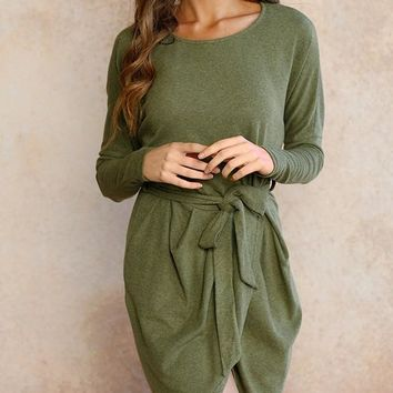 New Army Green Sashes Draped Irregular Slit High-Low Long Sleeve Office Worker Casual Elegant Midi Dress