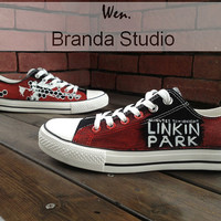 Christmas Gifts-Linkin Park Low Top  Hand Painted Shoes 45.99Usd,Paint On Custom Converse Shoes Only 85Usd,Buy One Get One Phone Case Free