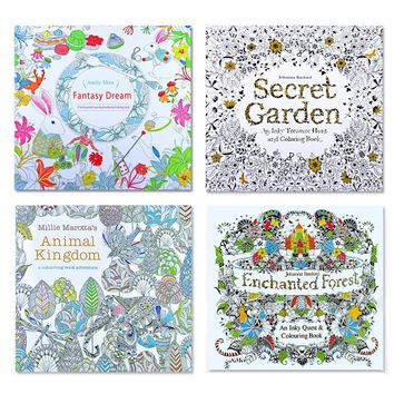 4 Pcs / 24 Pg Animal Kingdom English Edition Coloring Book for Children & Adult Stress Reliever
