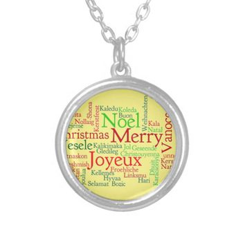 Merry Christmas Round Pendant Necklace