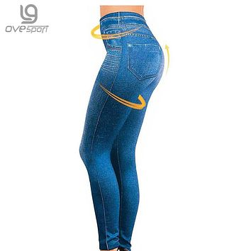 Genie Slim S-XXL Women Legging Jeans High Waist Elastic Jeggings Female Fitness Leggings Pants 2 Real Pocket Faux Jeans Leggings