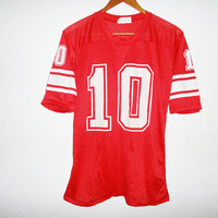 Vintage 80s Football Jersey - red - small -