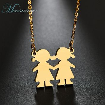 MENSAZONE Friendship Jewelry Stainless Steel Little Girls Pendant Necklace Love Family Sisters Necklace For Best Friend