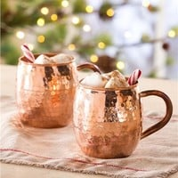 Hand Hammered Solid Copper Coffee Mugs, Set of 2
