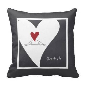 Cute white doves in love personalized girly throw pillows for her birthday, wedding, or valentine's day: You + Me