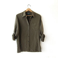 Vintage silk shirt. army green silk blouse. minimalist top. long sleeve silk pocket shirt.