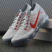Best Online Sale Nike Air VaporMax Vapor Max 2018 Flyknit Men White Red Sport Running Shoes 849558-006
