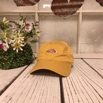 b66f9baf100ed PIZZA Baseball Hat Low Profile Embroidered Baseball Caps Dad Hats Burnt  Yellow